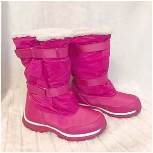 LANDS END Snow Thermal Boots Pink White Adj Velcro
